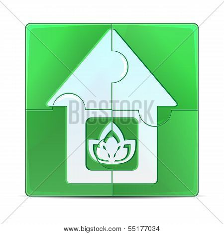 Green Puzzle With The Image Of The House.eco Icon Isolated On A White Background.vector
