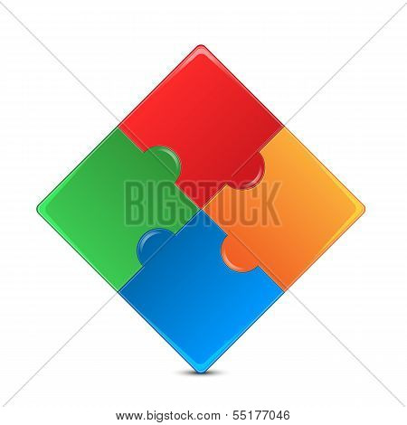 Colorful Puzzles Isolated On White Background.puzzle Of Different Color Squares.color Mosaic.vector