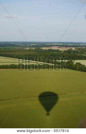 Landscape Derbyshire With Hot Air Balloon Shadow