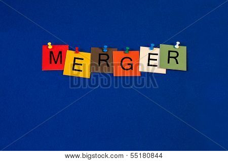 Merger - Sign Series For Business - Corporate Takeover, Competition, Partners