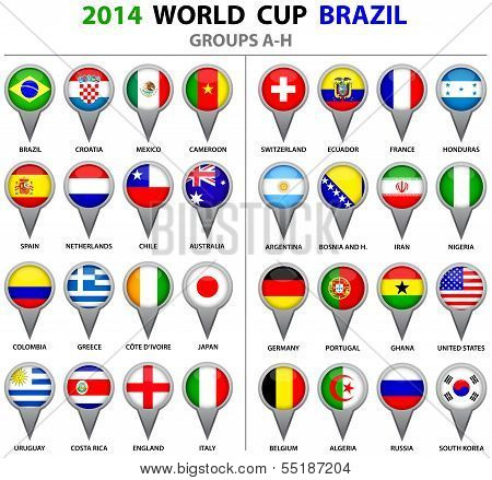 World Cup Brazil 2014 All Nations Vector Flags