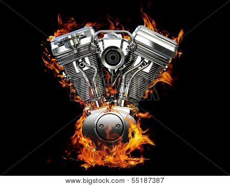 Chromed motorcycle engine on fire