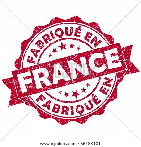 Made In France Red Grunge Seal