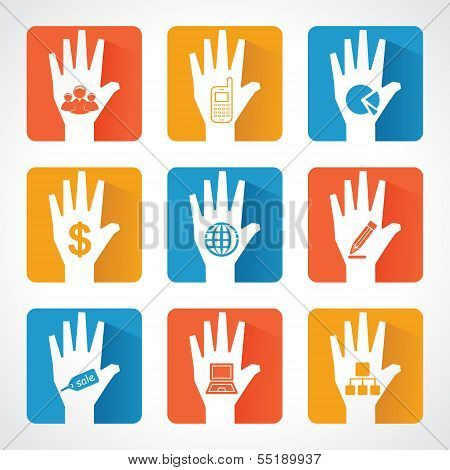 Different business icons and design with helping hand