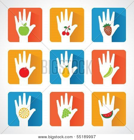 Different fruit icons and design with helping hand