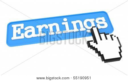 Earnings Button with Hand Cursor.