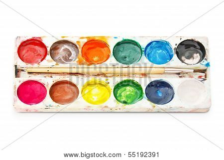Palette Watercolor Paints, Isolated On White Background.