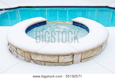Hot tub spa in the winter