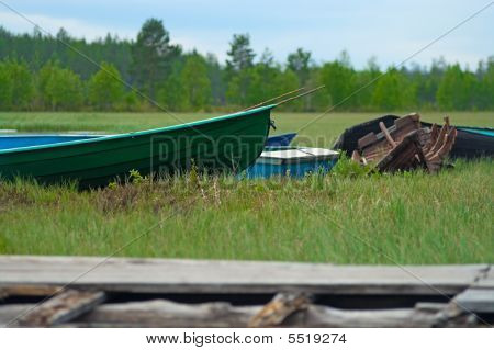 Boats in green grass