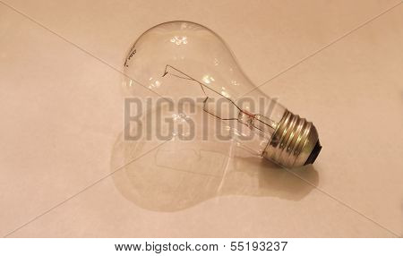 Incandescent Light Bulb on White Paper