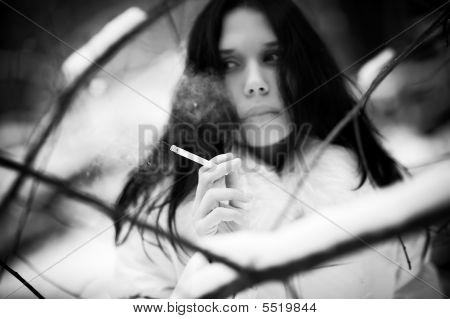 Smoking Woman Portrait