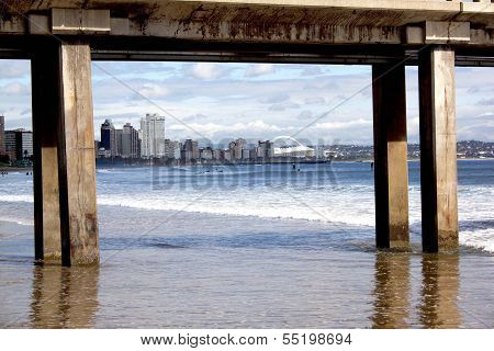 View Of Durban's Golden Mile Beachfront Framed By Pier