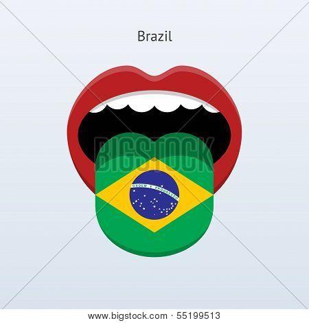 Brazil language. Abstract human tongue.