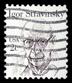 UNITED STATES OF AMERICA - CIRCA 1980: A stamp printed in the USA shows image of composer Igor Strav