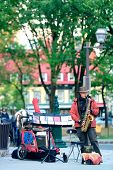 QUEBEC CITY, CANADA - SEP 10: Local artist performs on street on September 10, 2012 in Quebec City,