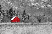 stock photo of red barn  - Winter barn scene at Gatineau Park black white and red - JPG