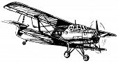 foto of aeroplane symbol  - Vector drawing of airplane stylized as engraving - JPG