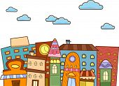 image of punctuation  - Doodle Illustration of a Cityscape Punctuated with Buildings - JPG
