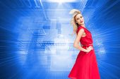 Composite image of happy blonde posing in red dress