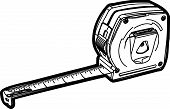 foto of tape-measure  - black line illustration of a Meter Tool with white background - JPG