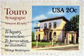 stamp printed in USA shows Touro Synagogue the oldest synagogue building still standing in the USA