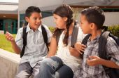 pic of school child  - Cute Brothers and Sister Wearing Backpacks Ready for School - JPG