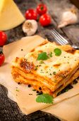 stock photo of lasagna  - Traditional Italian lasagna with beef meat - JPG