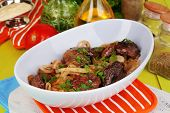 image of liver fry  - Fried chicken livers in pan on wooden table close - JPG