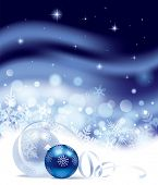 Vector Christmas and New-Year's blue snow storm background with snowflakes and Christmas tree decora