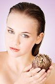 image of jericho  - Beautiful spa woman holding Rose of Jericho - JPG