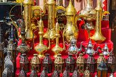 Traditional Coffee Pots And Lamps At The Souq In Dubai. poster
