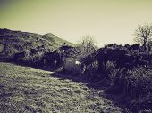 stock photo of hamlet  - Retro sepia Old abandoned mountain hamlet in Susa Valley Turin Italy - JPG