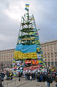 Kiev - Dec 05: Tree Construction From Flags With Slogans On Euro Maidan Meeting In Kiev On December