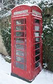 picture of english ivy  - English red telephone box in winter snow against an ivy clad Cotswold stone wall - JPG