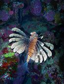 stock photo of lion-fish  - Coral and lion fish in the Red Sea - JPG