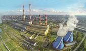 stock photo of chp  - Territory of power plant with many pipes at sunny day - JPG