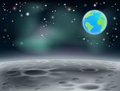 picture of outerspace  - Moon surface landscape background with stars craters and planet earth in the background - JPG