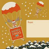 picture of rudolph  - Christmas Reindeers drop by parachute with a banner to wish Merry Christmas from you to your families - JPG