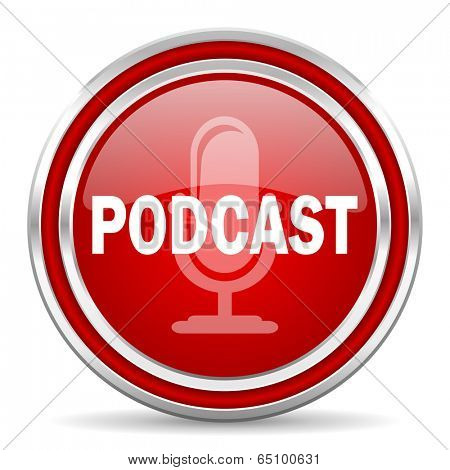 podcast red glossy icon