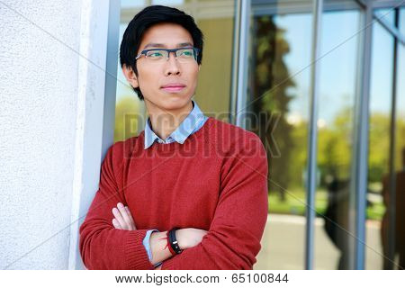 Portrait of a pensive asian man with arms folded