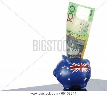 Australian One Hundred Dollar Note In Piggy Bank