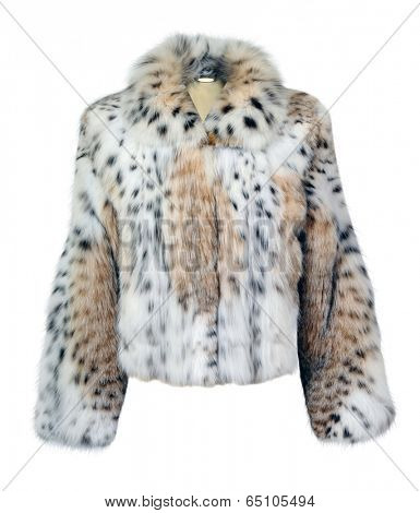 leopard fur coat isolated on white