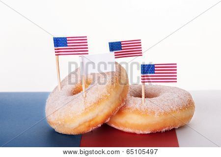 Donuts With Flags And Copy Space Banner