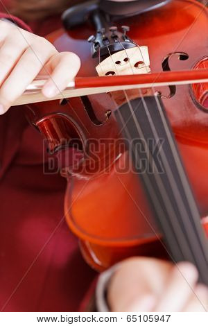 Girl Playing Fiddle - Violin Strings And Bow