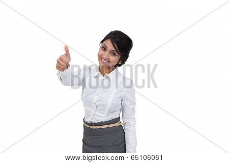 Attractive female showing thumbs up