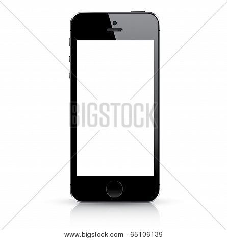 Modern black smart phone isolated. Vector illustration.