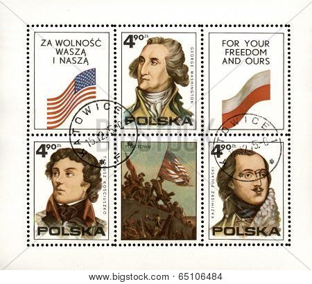 Poland, circa 1979: Polish postage stamp showing important people that fought for freedom, circa 1979