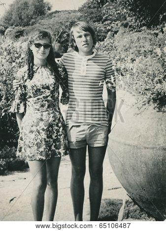 Poland, circa 1973:15 years old teenage couple in Bulgaria, circa 1973