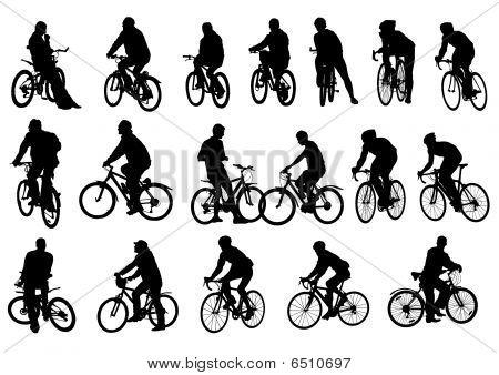 Ciclistas de siluetas