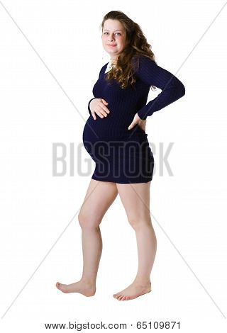 Young Pregnant Woman Standing In Full Length. Isolated On White